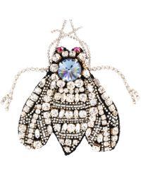Rochas - Crystal-embellished Bug Brooch - Lyst
