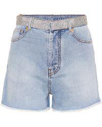 Alexandre Vauthier - Crystal-embellished Denim Shorts - Lyst
