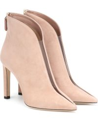 Jimmy Choo Bowie 100 Suede Ankle Boots - Pink
