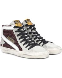 Golden Goose Deluxe Brand - Slide Glitter And Leather-trimmed Trainers - Lyst