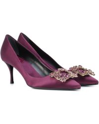 Roger Vivier - Flower Strass Satin Pumps - Lyst