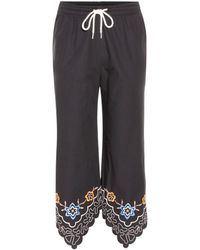 See By Chloé - Embroidered Cotton Cropped Trousers - Lyst