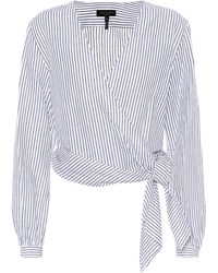 a787d84cf96f78 Lyst - Rag   Bone Prescot Cotton And Linen Blouse in Blue