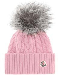 Moncler - Fur-trimmed Wool-blend Beanie - Lyst