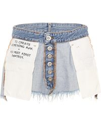 Unravel | Inside Out Reverse Denim Shorts | Lyst