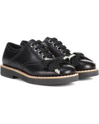 Miu Miu - Embellished Leather Derby Shoes - Lyst