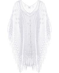 Anna Kosturova - Tassel Crocheted Cotton Poncho Dress - Lyst
