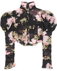Alessandra Rich - Floral-printed Silk Top - Lyst