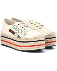 638413024 Gucci Platform Logo Espadrilles in White - Lyst