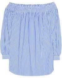 Polo Ralph Lauren - Striped Cotton Off-the-shoulder Blouse - Lyst