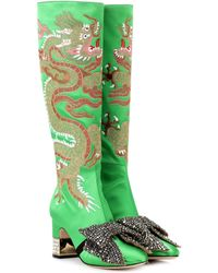 Gucci - Dragon Embellished Satin Boots - Lyst
