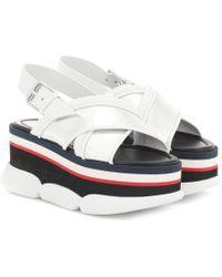 Moncler - Zelda Leather-trimmed Platform Sandals - Lyst