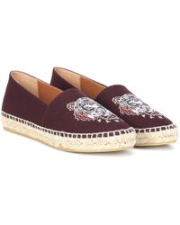 KENZO - Embroidered Canvas Espadrilles - Lyst