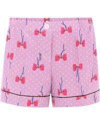 Miu Miu - Shorts de seda estampados - Lyst