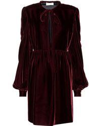 Saint Laurent - Long-sleeved Velvet Dress - Lyst