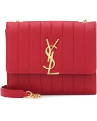 Saint Laurent - Red Vicky Quilted Leather Clutch Bag - Lyst