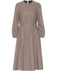 Rochas - Vestido midi en mezcla de lana - Lyst