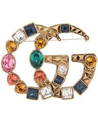 Gucci - Broche adornado con cristales Doble G - Lyst