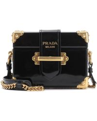 Prada - Cahier Patent Leather Shoulder Bag - Lyst