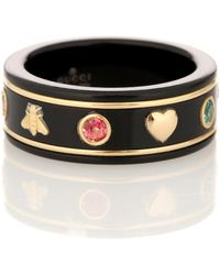 Gucci - Icon 18kt Gold Ring With Gemstones - Lyst