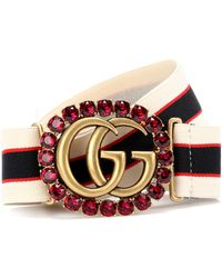 Gucci - Double G Striped Belt - Lyst