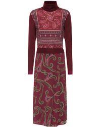 Etro - Paisley Wool-blend Midi Dress - Lyst