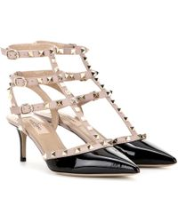 Valentino Rockstud Studded Patent Leather Pumps  - Natural