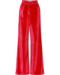 Self-Portrait - High-rise Wide-leg Velvet Pants - Lyst