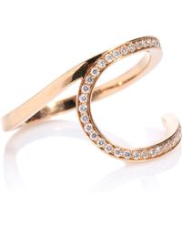 Repossi - La Ligne C Hoop 18kt Rose Gold Ring With Diamonds - Lyst
