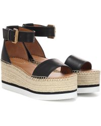 See By Chloé - Leather Platform Sandals - Lyst