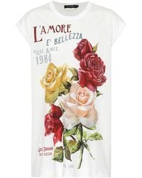 Dolce & Gabbana - Floral Printed Cotton T-shirt - Lyst
