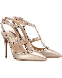 Valentino - Rockstud Metallic Leather Court Shoes - Lyst