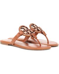 ac7bd1b8270 Lyst - Tory Burch Miller Leather Sandals in Black - Save ...