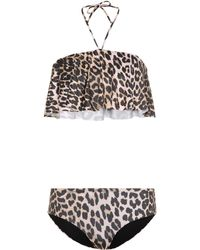 Ganni - Nova Leopard-printed Bikini - Lyst