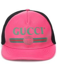 Gucci - Print Leather Cap - Lyst