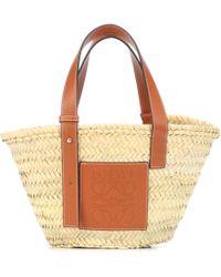 Loewe - Leather Trimmed Basket Tote - Lyst