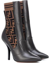 eb8451a5d24e Fendi - Rockoko Leather Ankle Boots - Lyst
