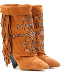 Isabel Marant - Lesten Embroidered Suede Boots - Lyst