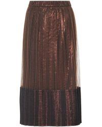 46ef5ba5c4 Brunello Cucinelli - Metallic Pleated Midi Skirt - Lyst