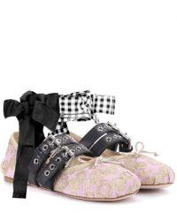 Miu Miu - Buckle-embellished Brocade Ballerinas - Lyst