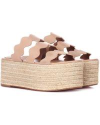 Chloé - Lauren Leather Platform Sandals - Lyst