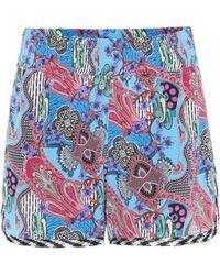 Etro - Printed Silk Shorts - Lyst