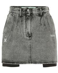Off-White c/o Virgil Abloh - Minigonna di jeans a vita alta - Lyst