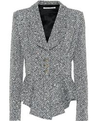 Alessandra Rich - Peplum Wool-blend Bouclé Jacket - Lyst