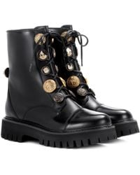 Dolce & Gabbana - Embellished Leather Lace-up Boots - Lyst