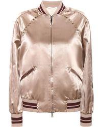 Valentino - Rockstud Untitled Satin Varsity Jacket - Lyst