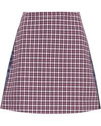 Burberry - Checked Cotton-blend Miniskirt - Lyst