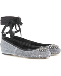 Jimmy Choo - Grace Flat Embellished Leather Ballerinas - Lyst