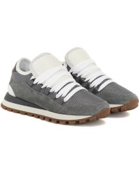 Brunello Cucinelli - Mesh And Suede Trainers - Lyst