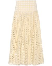 Chloé - Embroidered Eyelet Skirt - Lyst